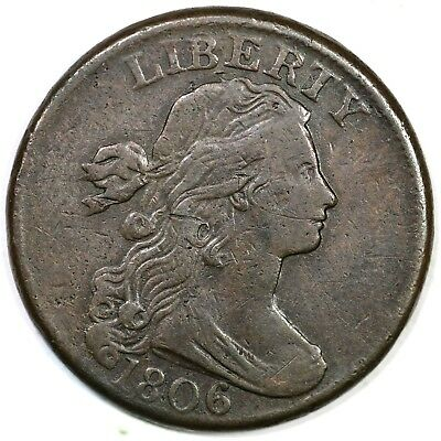 1806 s-270 Draped Bust Large Cent Coin 1c