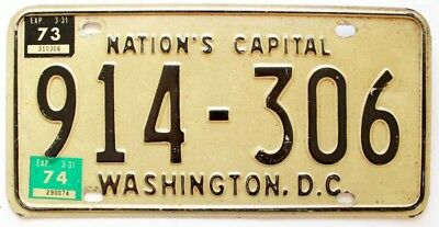 Vintage Washington DC 1973 1974 License Plate, Watergate Era, Richard Nixon