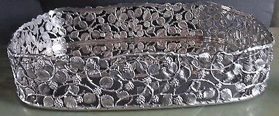 ITALIAN 800 SILVER Reticulated BLACKBERRIES VINES Gallery tray by AMANDO POGGI