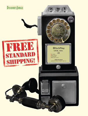 TechPlay CP26 BLK Retro Classic Rotary Dial public phone with classic handset de