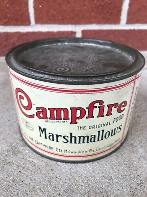 Vintage Campfire Marshmallows Advertisment Tin Camco Baking Antique Can Milwauke