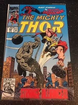 Mighty Thor#447 Incredible Condition 8.0(1992) Spider-Man,Creel, Titania, Frenz!