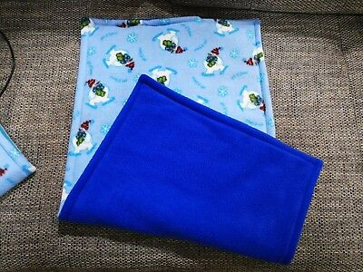 Guinea pig fleece cage liners for Ferpalst cage, snow man/royal blue
