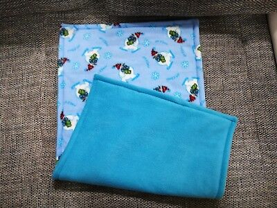 Guinea pig fleece cage liners for Ferpalst cage, snowman/turqouise