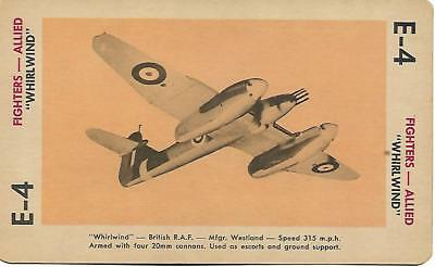 """Milton Bradley 1965 Game Picture Card  WWII  """" Whirl Wind """" Fighters Plane"""