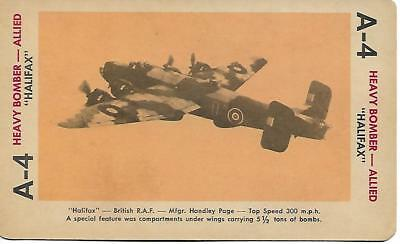 """Milton Bradley 1965 Game Picture Card  WWII """" Hallifax """" Heavy Bomber Planes"""