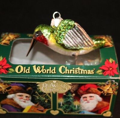 Old World Christmas Blown Glass Green Bird Christmas Ornament OWC