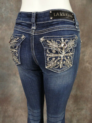 New Womens LA IDOL Bootcut Jeans Beautiful Embroidered Florals with Crystals!