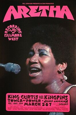Aretha Franklin Live At The Fillmore West Vintage Original style A Poster 1971