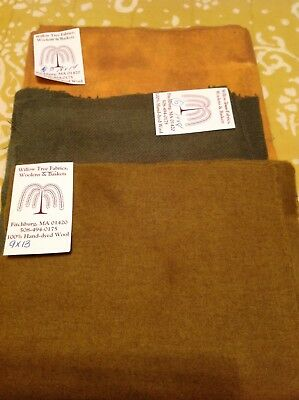 wool fabric hand dyed- 3 color lot