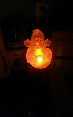 1 Vintage Halloween Window Sill GHOST CANDLE LIGHT~ flickering