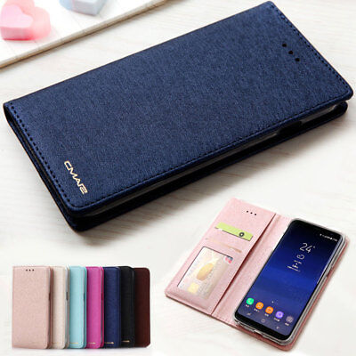 Luxury Silk Leather Magnetic Flip Wallet Case Cover For Samsung Galaxy S8 Plus