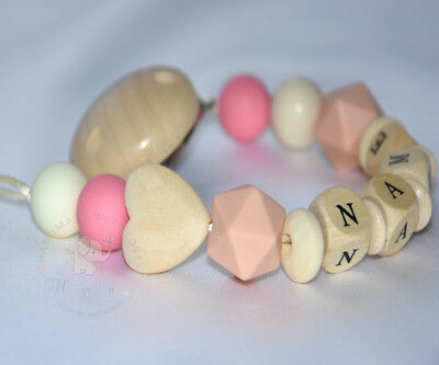 Personalised Wooden / Silicone Dummy Clip/Chain /Teether/Pacifier Holder