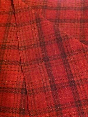 Red Plaid hand dyed wool fabric