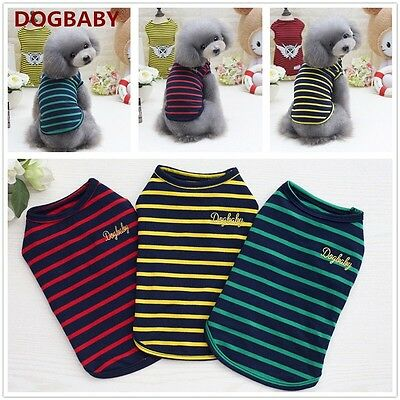 Hot New Pet Puppy Small Dog Clothers Polo Shirt Summer Stripe Pattern T-shirt