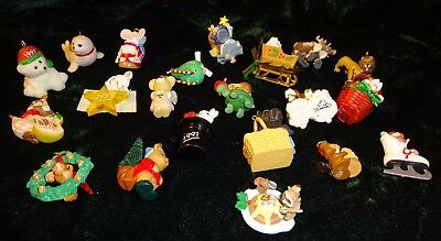 Vtg Hallmark Miniature Christmas Ornament Lot of 21 Animals Angels 1988 - 2001