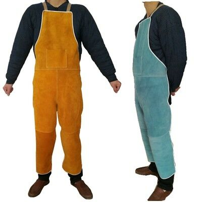 Welding Apron Split Leg Open Back Work Pants Heat-Resistant Breast Protection