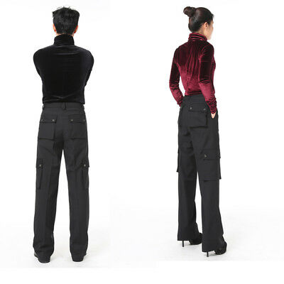 Unisex Latin Dance Pants Multi-pocket Practice Trousers Competition Dancewear