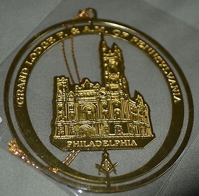 Vintage Masonic Christmas Ornament - Grand Lodge  F & AM of Pennsylvania - Brass
