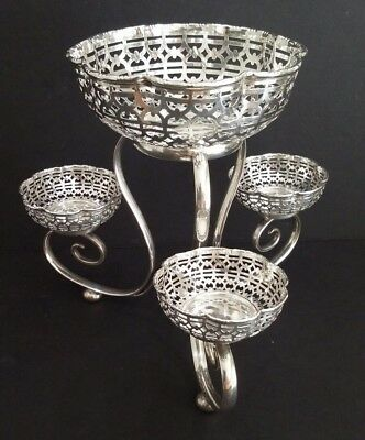 VINTAGE SILVERPLATE EPERGNE Tazza Centerpiece A J Pepper