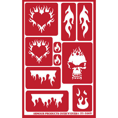 """Over 'N' Over Reusable Stencils 5""""X8"""" Flames GE21-1669"""