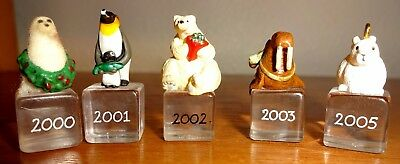 Vtg Hallmark Miniature Ornament Lot 5 Ice Buddies Polar Bear Penguin Rabbit More