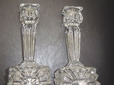 "Pretty 5.5"" High Pressed Glass Candlesticks"