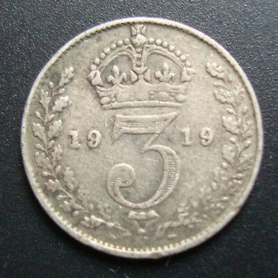 King George V silver three pence coins 1918 - 1936 - Free Postage