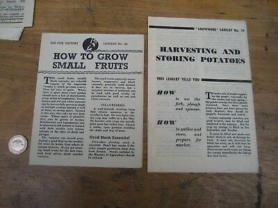 Two WW2 leaflets Dig for Victory No.22 and Growmore No.77