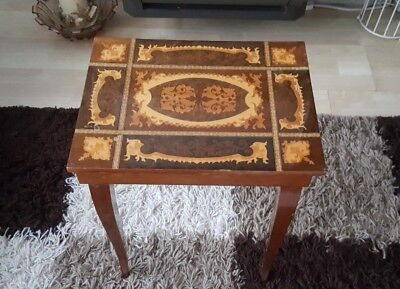 Vintage Italian Style Musical Box Table Marquetry Inlay