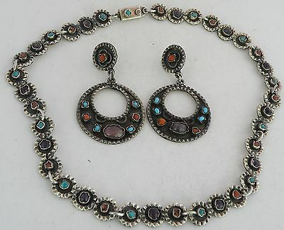 Early rustic sterling, Turquoise, Coral, earrings, necklace set Mexico, Taxco