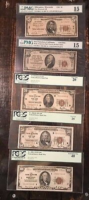 Lot of Five 1929 FRBN Notes Bills PMG/PCGS $5, $10, $20, $50, & $100 Set AMAZING