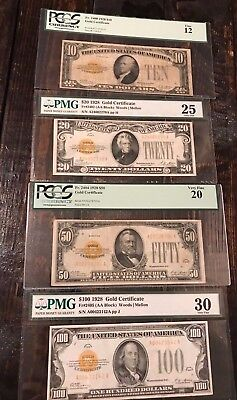 1928 Gold Certificate Set All PMG/PCGS Graded Bills Notes $10, $20, $50, & $100