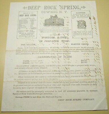 1880's Letterhead DEEP ROCK SPRING WATER OSWEGO NY Price List Doolittle House