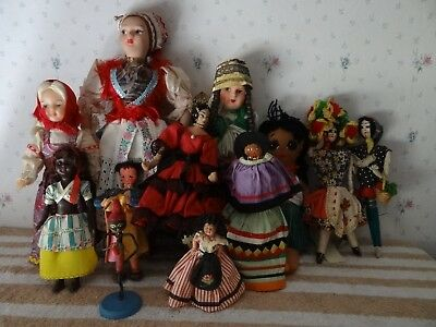 Nice lot of 12 Vintage Foreign Travel Dolls
