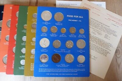 FAO Money Panel Number 2A Food For All 1971 - 73 World coins x15 United Nations