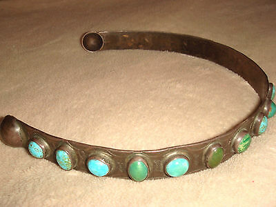 Old Pawn Fred Harvey Era Navajo Museum Quality Ster. Silver Turquoise Headband