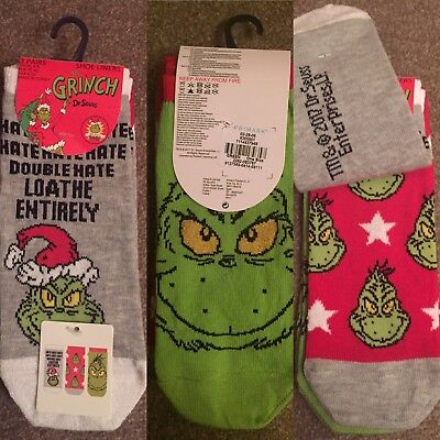 Dr Seuss Grinch Loathe Christmas 3 Pairs Of Socks Primark Size 4 - 8 UK BNWT
