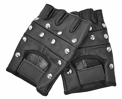 Studded Leather Gloves Finger less Punk Cycling BMX Motorbike Gym Car Fashion