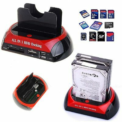 md* DOCK DOCKING STATION HARD DISK 3,5 2,5 SATA IDE 2 HD HDD BOX CASE USB SD TF