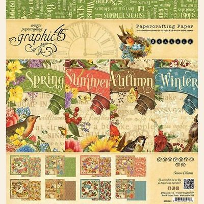 "Graphic 45 ""seasons"" 8X8 Paper Pad Summer Fall Winter Spring Scrapjack's Place"