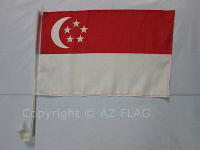 SINGAPORE CAR FLAG 18'' x 12'' - SINGAPOREAN CAR FLAGS 30 x 45cm - BANNER 18x12