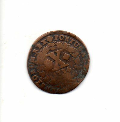 Portugal 1734 10 Reis coin - well used