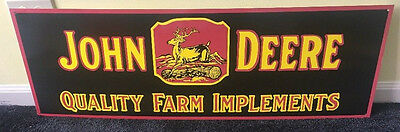 "Vintage John Deere Quality Farm Implements 36"" X 12"" Metal Tractor, Gas Oil Sign"