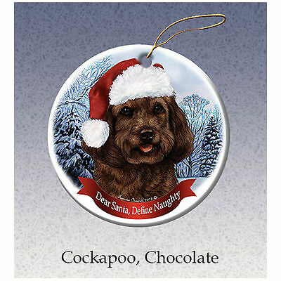Cockapoo Chocolate Howliday Porcelain China Dog Christmas Ornament