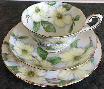 TUSCAN porcelain DOGWOOD PEDESTAL CUP SAUCER PLATE TRIO 2 available