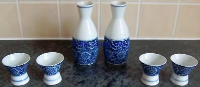 signed JAPANESE porcelain blue and white SAKI or SHOT SET 4 CUPS + 2 DECANTERS