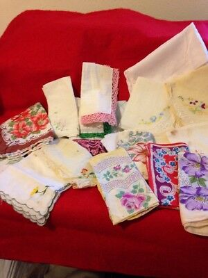 Vintage Lot Of 29 Ladies Mixed Handkerchiefs From The 50's Floral , White,