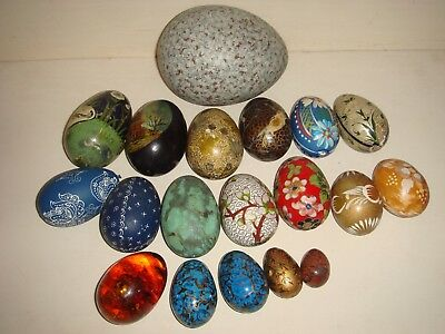 Decorative Eggs x 19 Various - Wood Hand Painted, Cloisonne, Agate