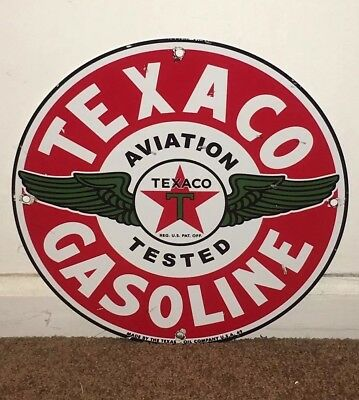 "Vintage Nos Texaco Aviation Tested Gasoline 11 3/4"" Porcelain Metal Gas Oil Sign"